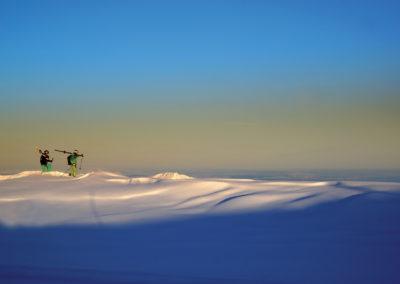 Kerstin und Thomas. Skigebiet Damüls. Höhe Gipfelbergbahn.